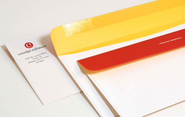 Envelopes for software company Coredge by Ottawa Graphic Designer idApostle