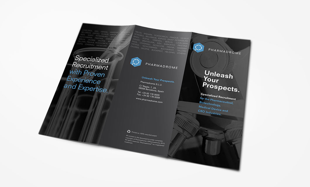 Brochure (outside) for Pharmaceutical Recruitment Company Pharmadrome by idApostle