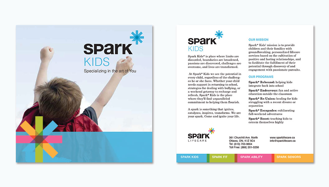 Brochure Design by Ottawa Graphic Designer idApostle for Services Company Spark Lifecare
