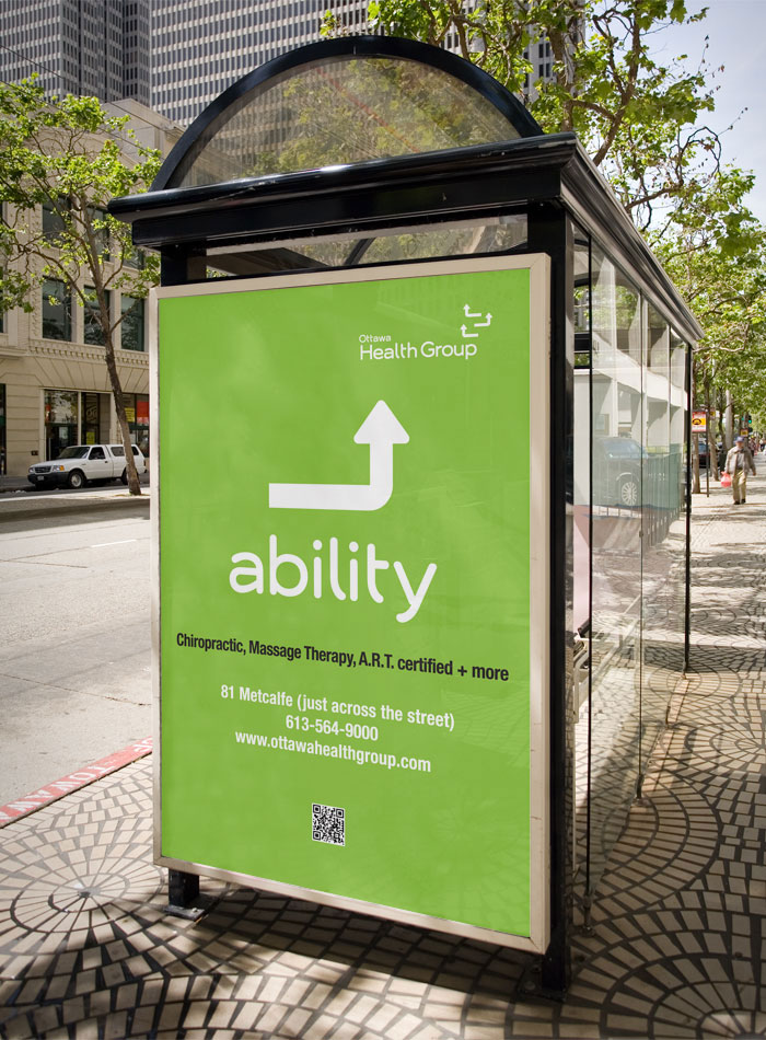 Bus Shelter Advertising by Ottawa Graphic Designer idApostle for Health Care Provider Ottawa Health Group