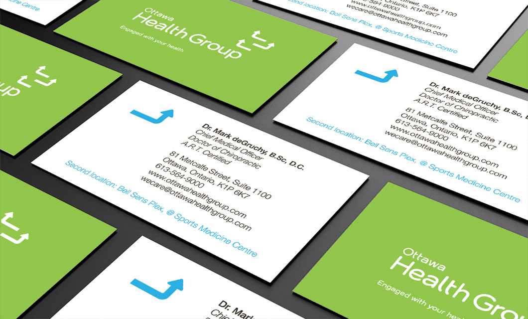 Business Card Design by Ottawa Graphic Designer idApostle for Health Care Provider Ottawa Health Group
