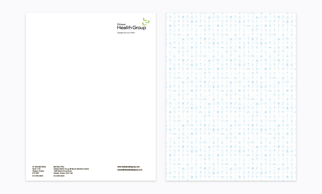 Letterhead Design by Ottawa Graphic Designer idApostle for Health Care Provider Ottawa Health Group
