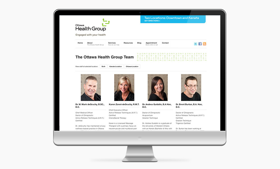 Website Design by Ottawa Graphic Designer idApostle for Health Care Provider Ottawa Health Group