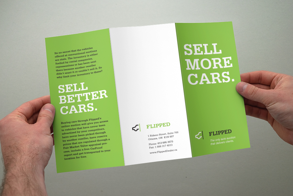 Brochure Design by Ottawa Graphic Designer idApostle for Automobile Sales Company Flipped