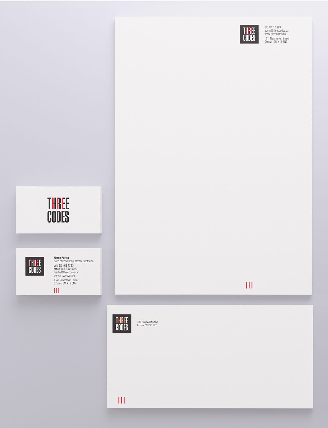 Stationery for Ottawa electricians Three Codes by Ottawa Graphic Designer idApostle