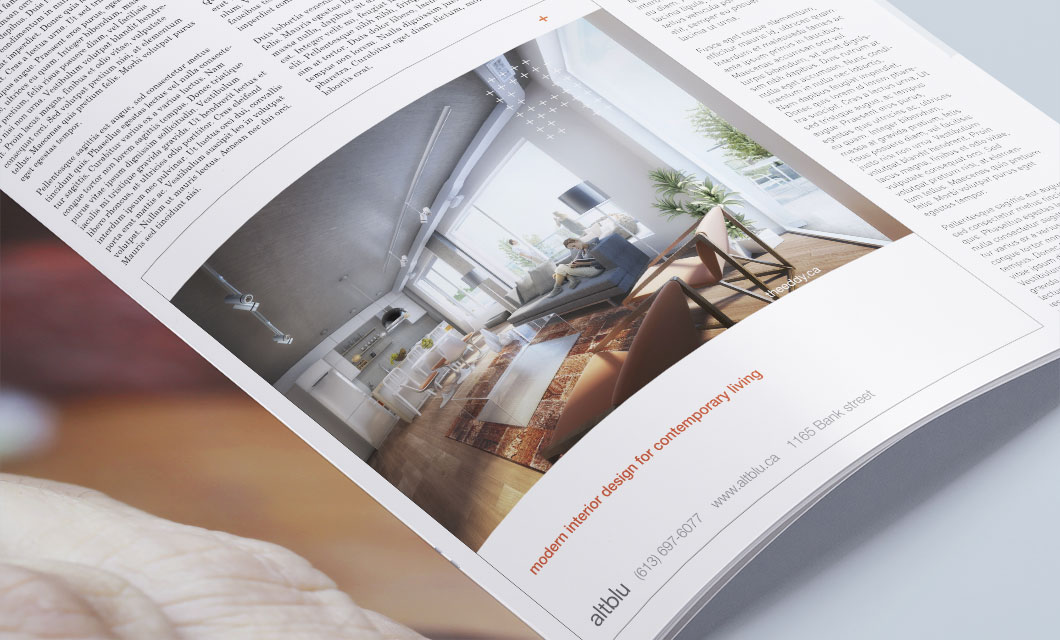 Magazine ad for Ottawa interior design company altblu by Ottawa Graphic Designer idApostle