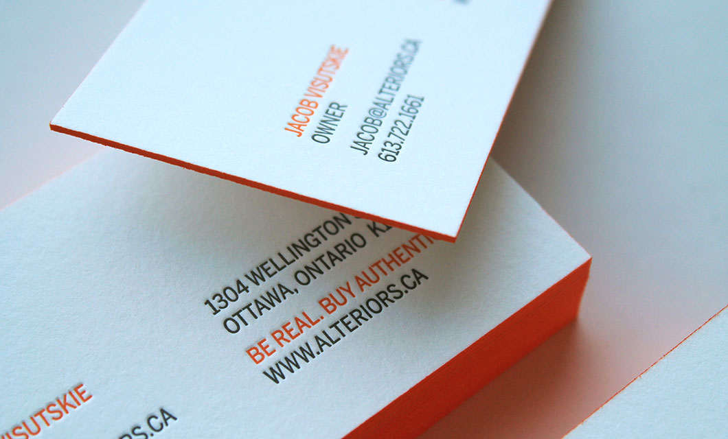 Letterpress business cards for Ottawa furniture store Alteriors by Ottawa Graphic Designer idApostle