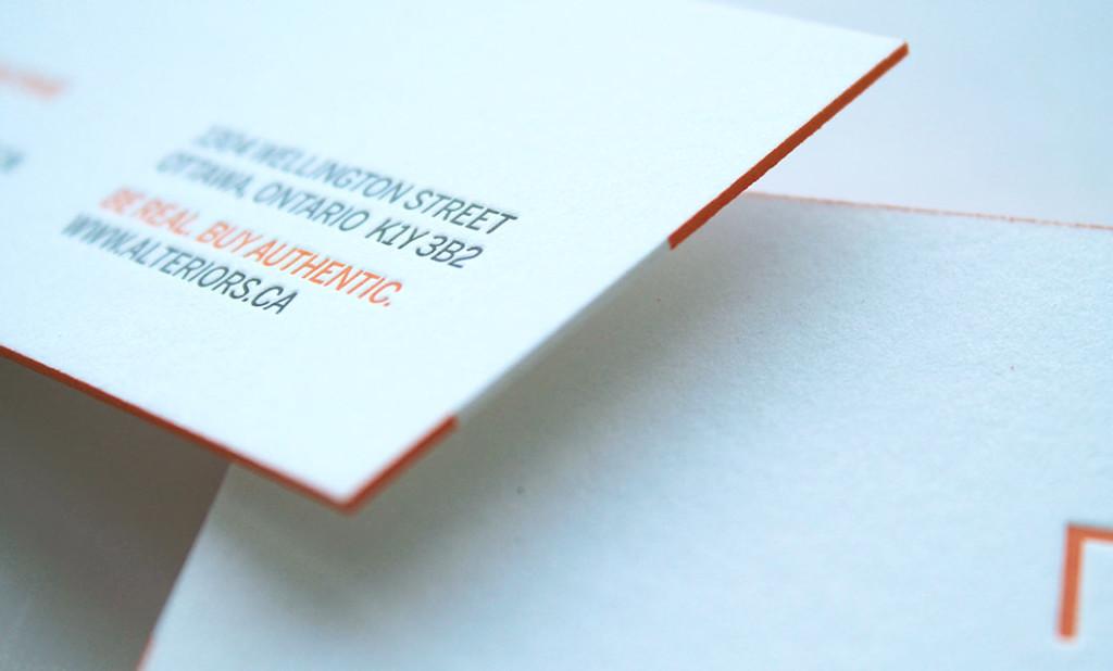Letterpress business cards (detail) for Ottawa-based Alteriors