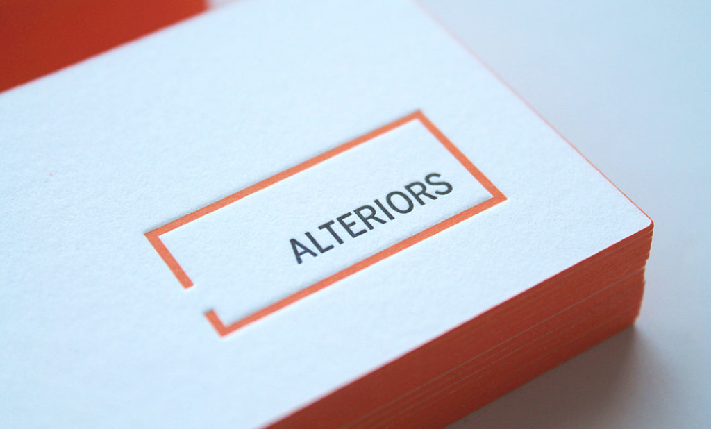Letterpress business cards (front) for Ottawa-based Alteriors
