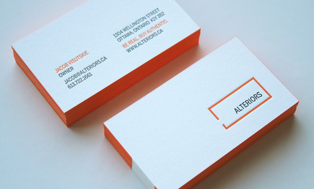 Unique ottawa business card design and printing idapostle letterpress business cards for ottawa based alteriors reheart Gallery