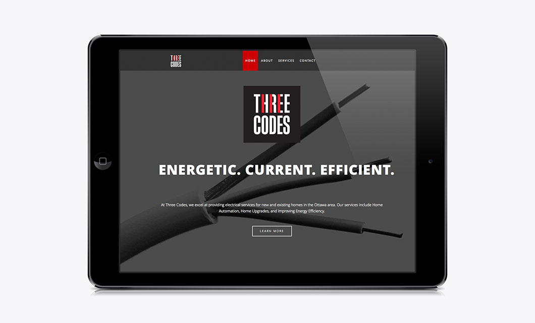 Website for electricians Three Codes by Ottawa Graphic Designer idApostle
