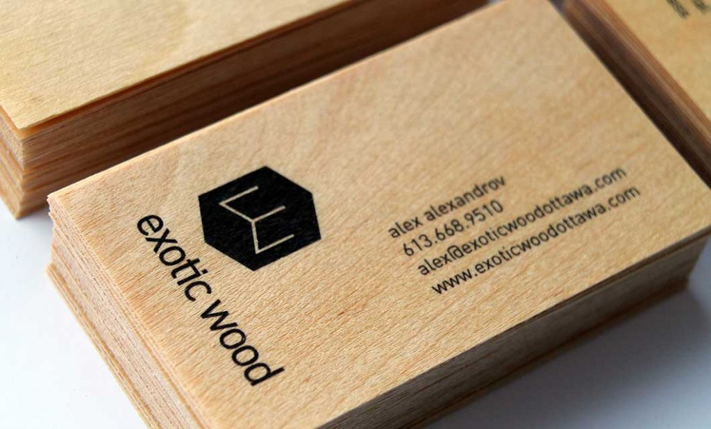 Wooden business card (front) for Ottawa-based Exotic Wood