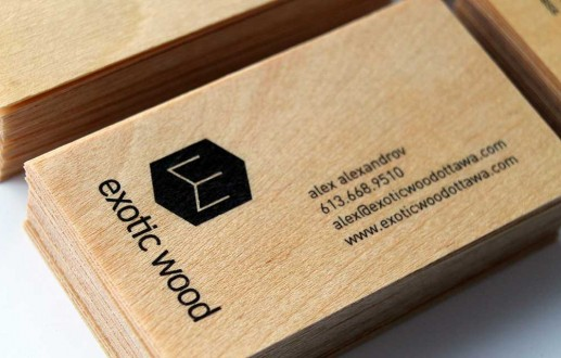 Wooden Business Cards for Ottawa furniture designer Exotic Wood