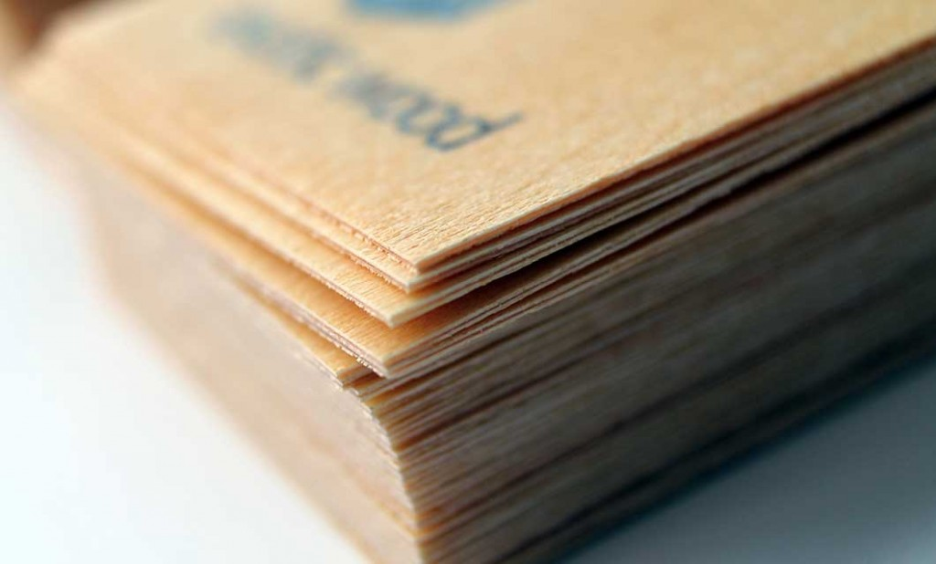 Wooden business card (detail) for Ottawa-based Exotic Wood