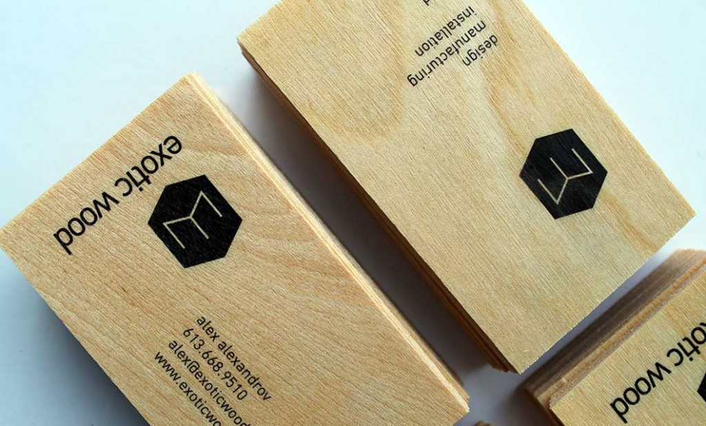 Wooden business cards for Ottawa-based Exotic Wood