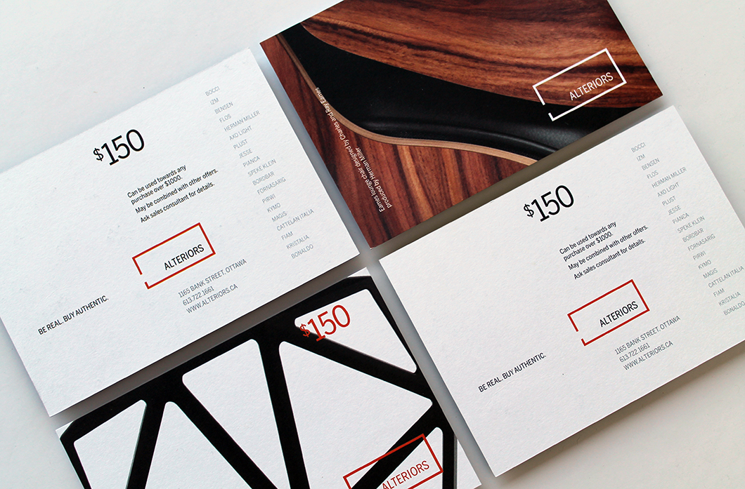 Alteriors gift card (front and back) by Ottawa Graphic Designer idApostle