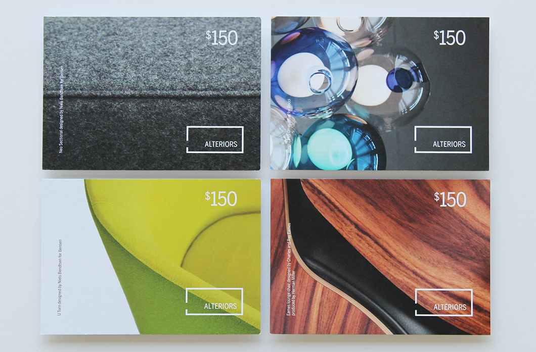 Alteriors gift card (fronts) by Ottawa Graphic Designer idApostle