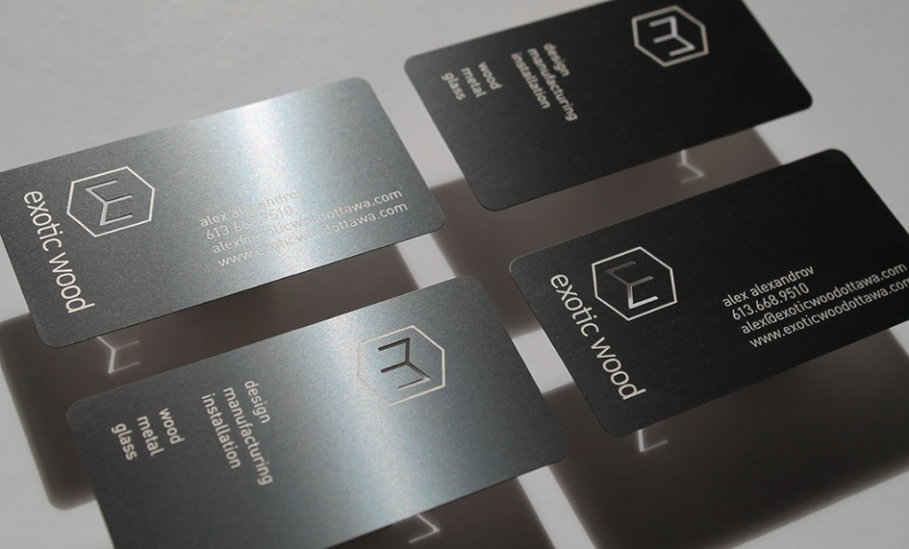 Metal business cards for Ottawa-based Exotic Wood