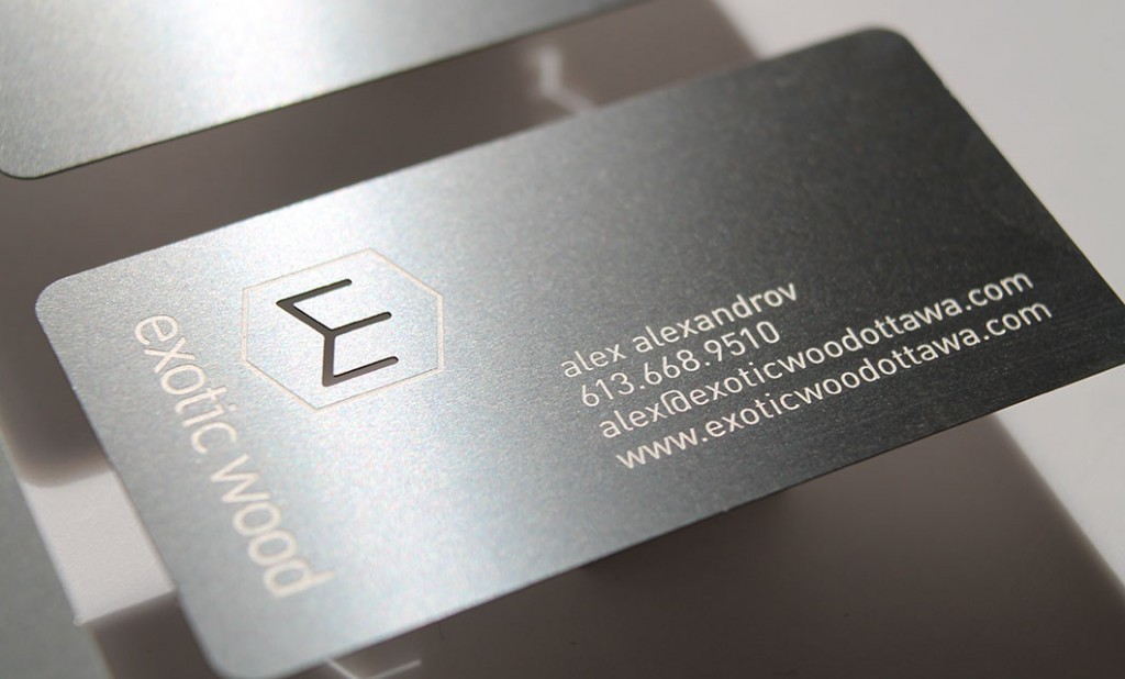 Metal business card (front) for Ottawa-based Exotic Wood