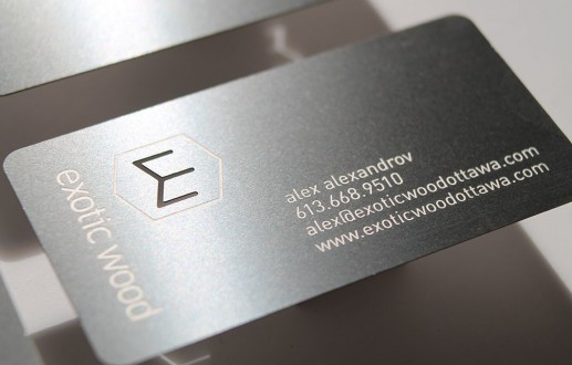 Metal Business Cards for Ottawa furniture designer Exotic Wood