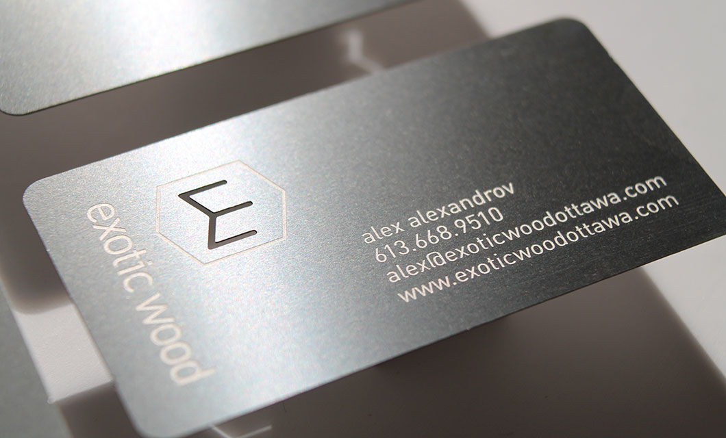 Metal Business Cards for Furniture Manufacturer Exotic Wood by Ottawa Graphic Designer idApostle