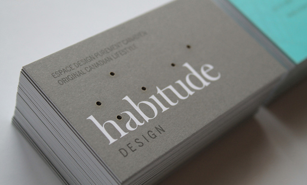 Laser cut Business card (front) for Ottawa-based Habitude
