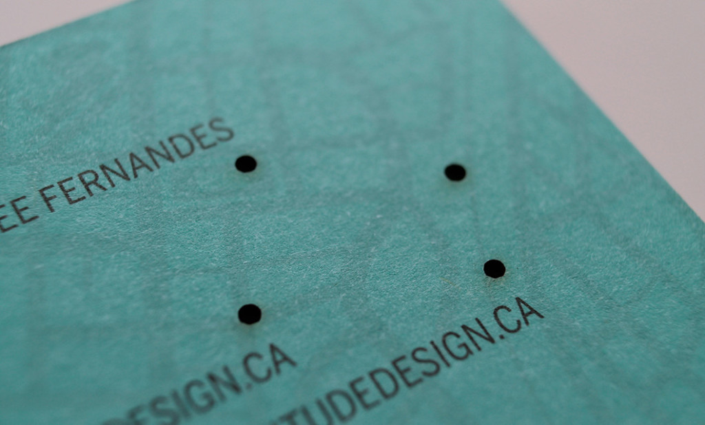 Laser cut Business card (back) for Ottawa-based Habitude