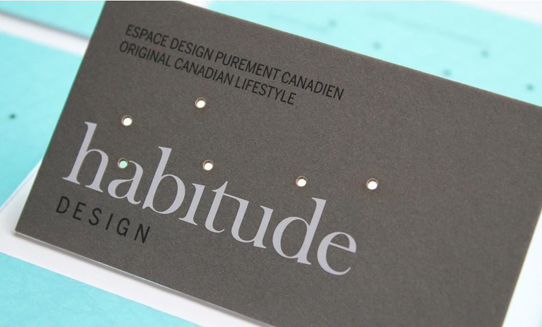 Branding for Habitude Design including logo design and laser cut business cards