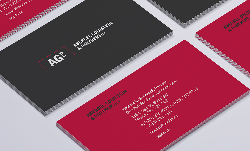 Branding for Ottawa law firm Abergel Goldstein & Partners, including logo design, business cards, and website