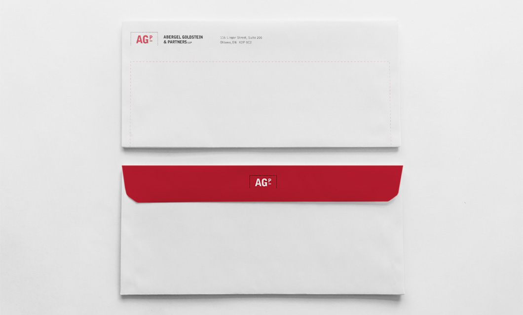 Envelope for Ottawa law firm Abergel Goldstein & Partners by graphic designer idApostle