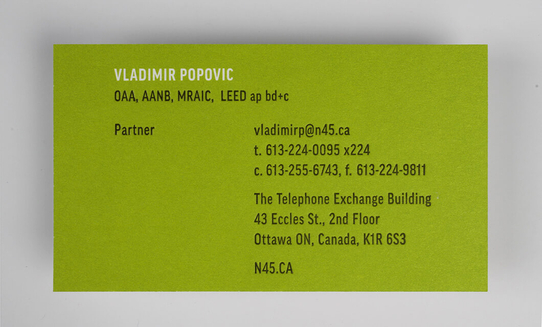 Unique ottawa business card design and printing idapostle letterpress business card back for ottawa based n45 architecture inc reheart Gallery