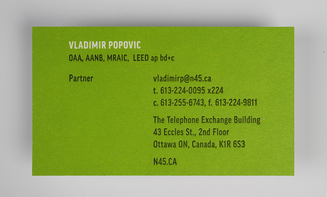 Letterpress Business card back for Ottawa's N45 Architecture by Graphic Designer idApostle