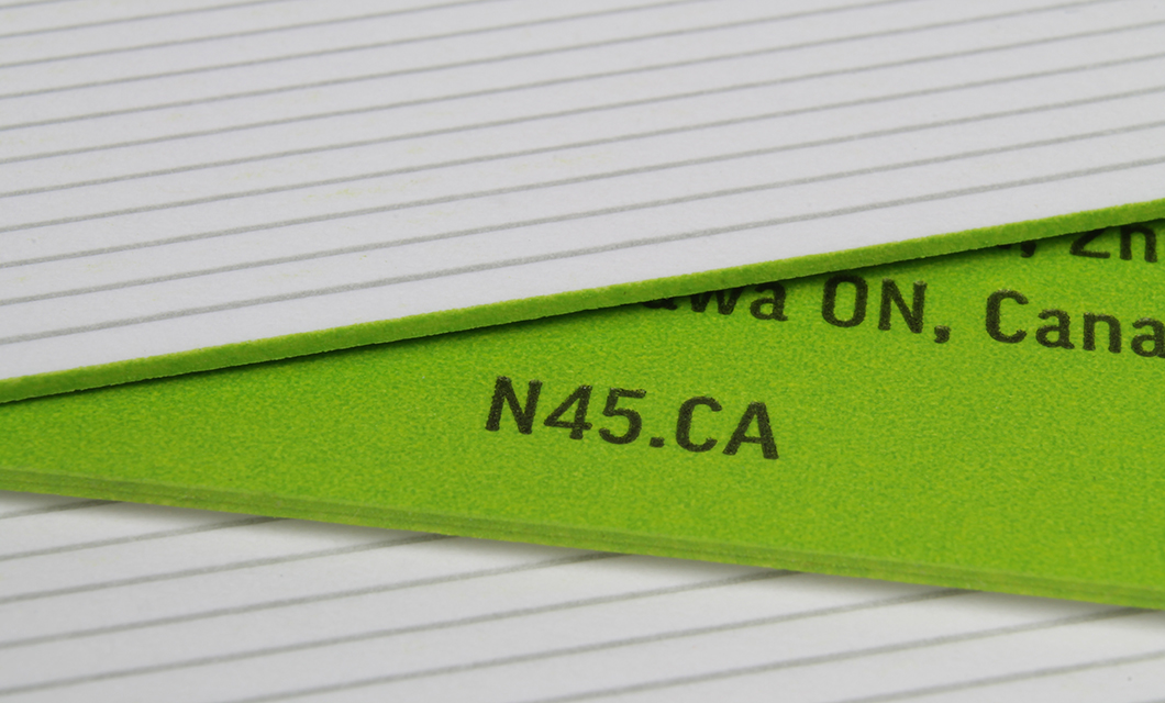 Letterpress Business card edge painting for Ottawa's N45 Architecture by Graphic Designer idApostle