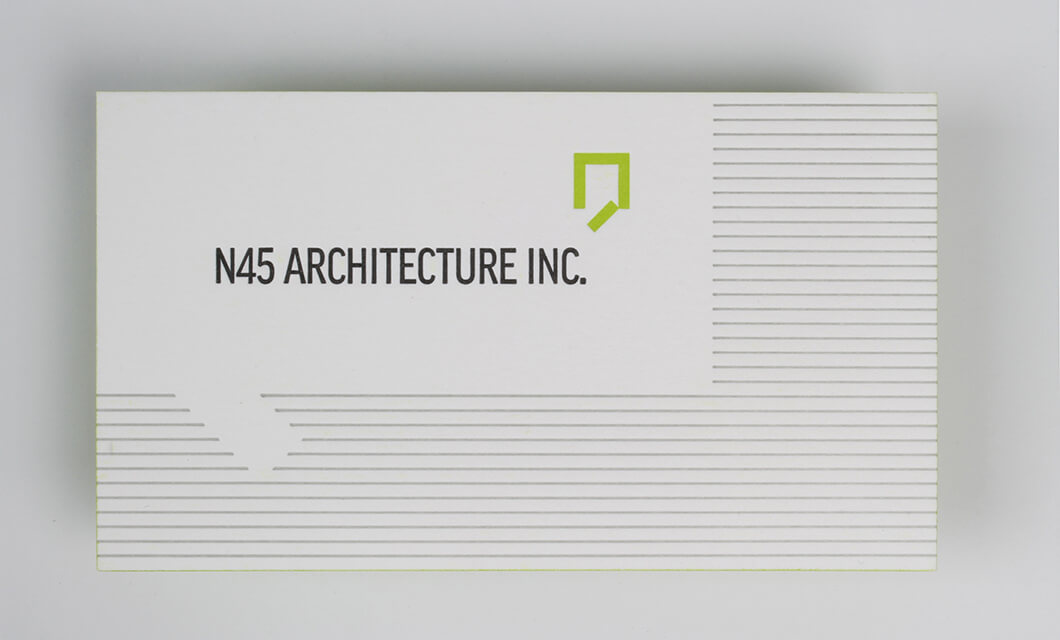 Letterpress cards for ottawas n45 architecture idapostle letterpress business card front for ottawas n45 architecture by graphic designer idapostle reheart Gallery