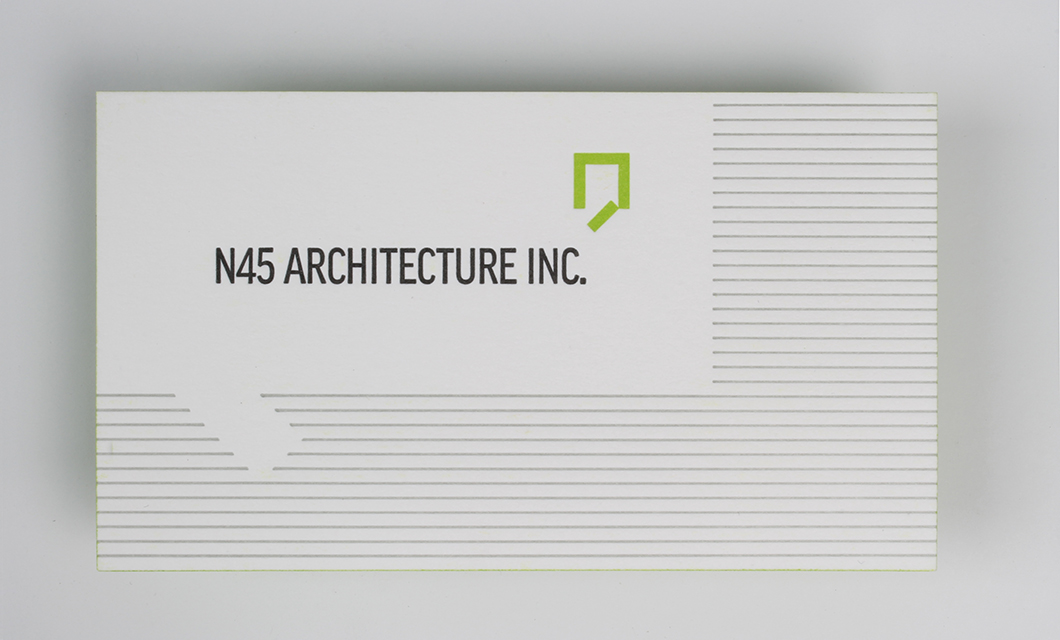 Letterpress Business card front for Ottawa's N45 Architecture by Graphic Designer idApostle