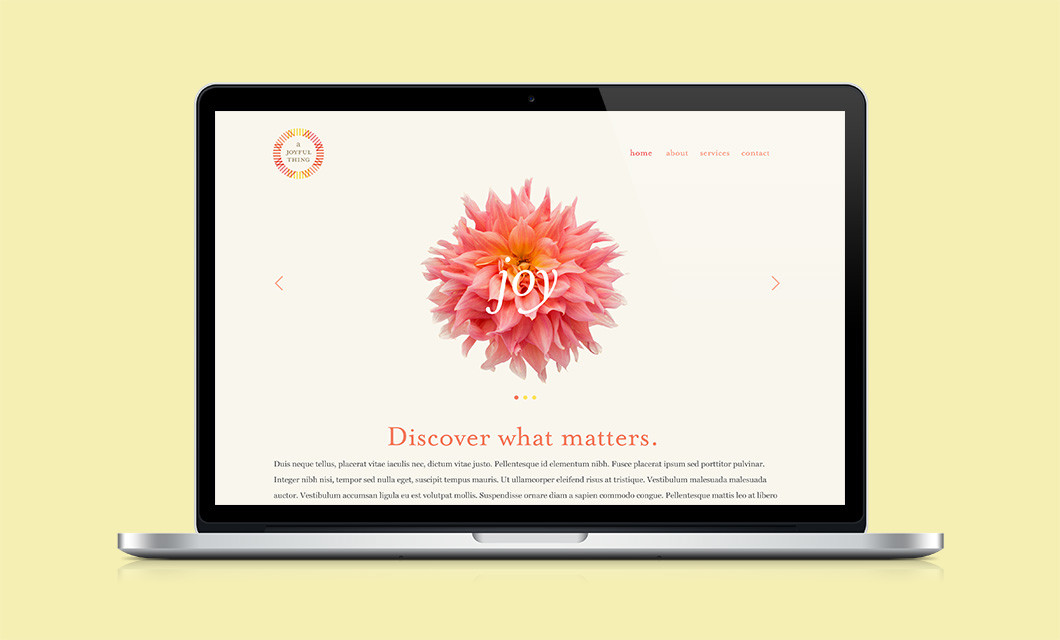 A Joyful Thing (proposed) website by Ottawa Graphic Designer idApostle