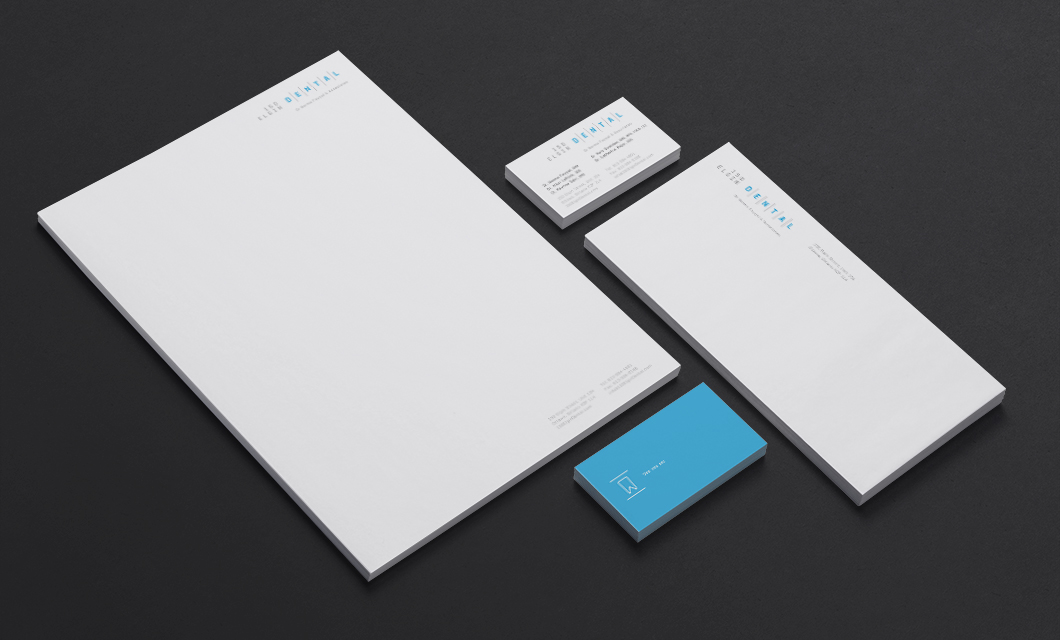 Stationery design for 150 Elgin Dental by Ottawa graphic designer idApostle