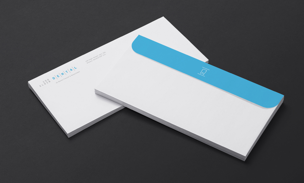 Envelope design for 150 Elgin Dental by Ottawa graphic designer idApostle