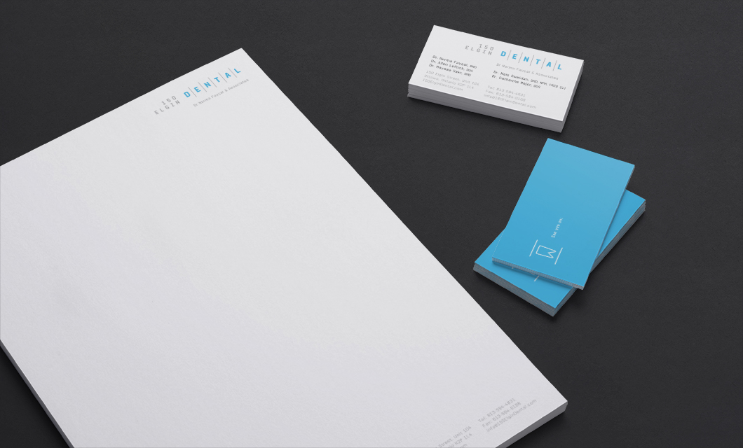 Stationery for 150 Elgin Dental by Ottawa graphic designer idApostle