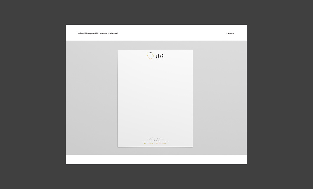 Design presentation deck for Lionhead branding and logo design: Letterhead Design Page