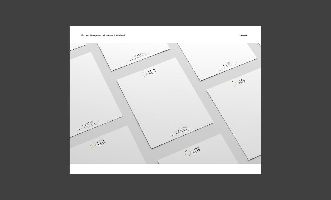 Design presentation deck for Lionhead branding and logo design: Letterhead Design Page