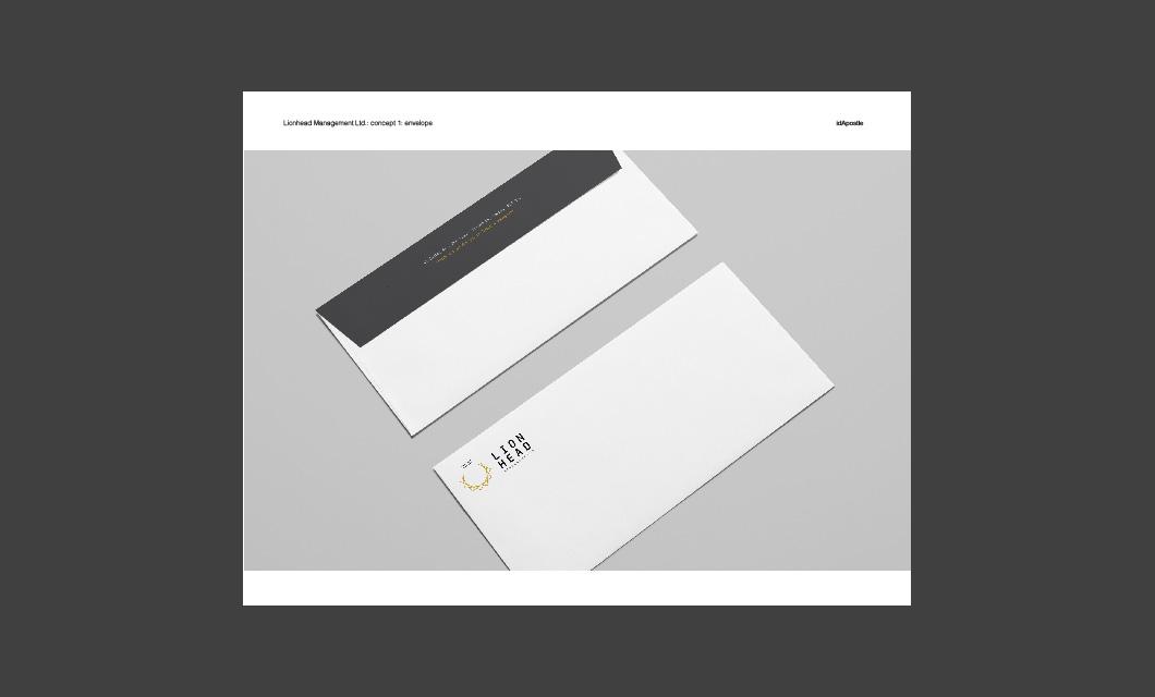 Design presentation deck for Lionhead branding and logo design: Envelope Design Page
