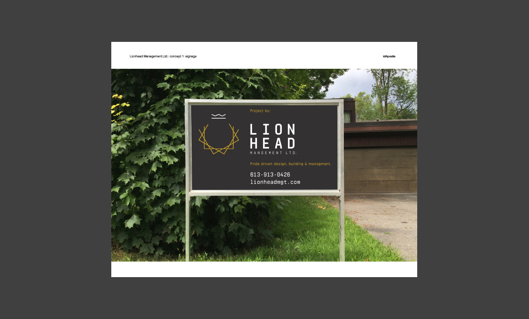 Design presentation deck for Lionhead branding and logo design: Lawn Signage Design Page