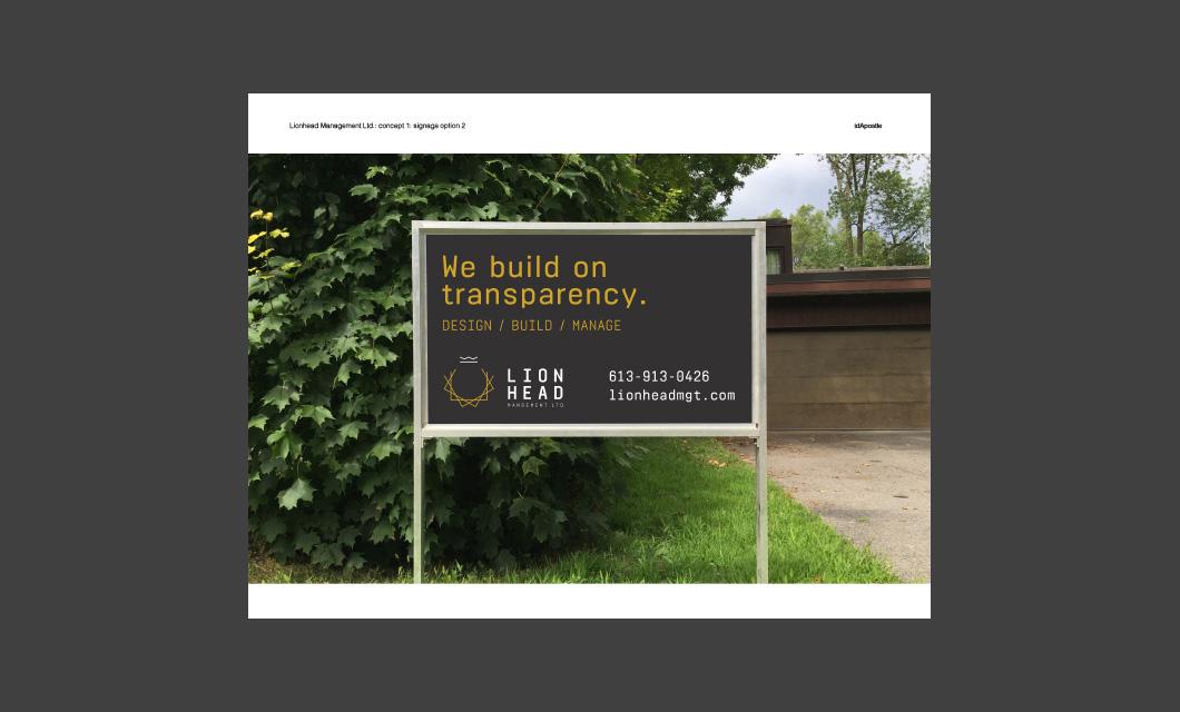 Design presentation deck for Lionhead branding and logo design: Lawn Signage Design Page