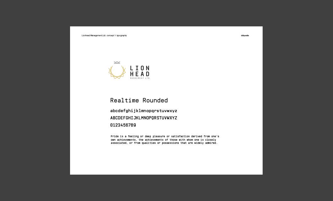 Design presentation deck for Lionhead branding and logo design: Typography Page