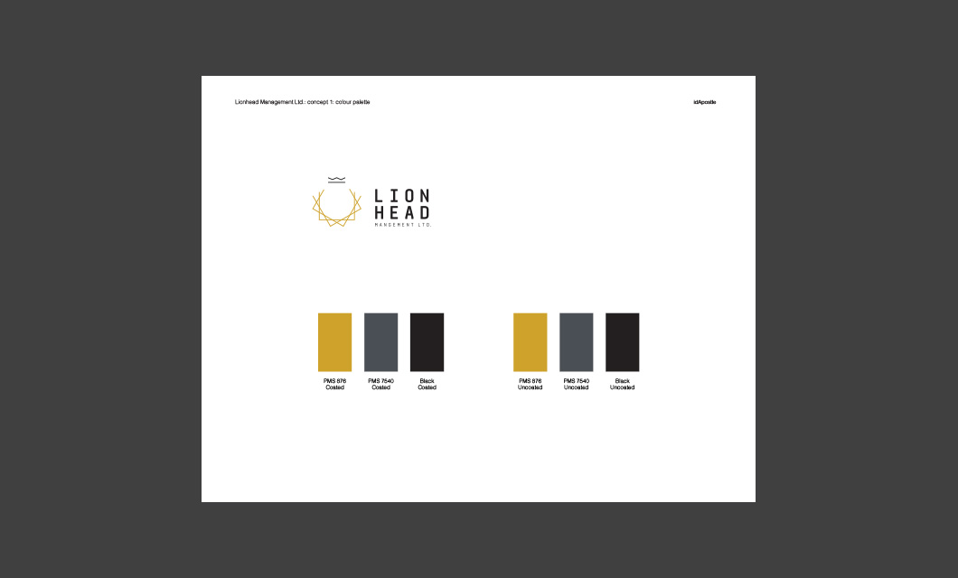 Design presentation deck for Lionhead branding and logo design: Colour Palette Page