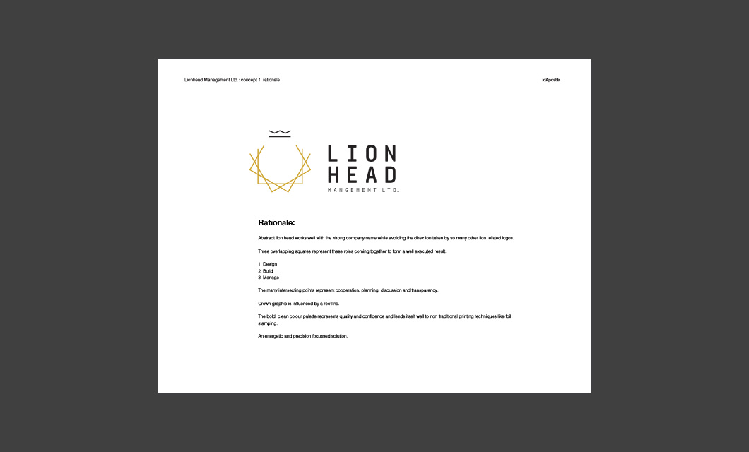 Design presentation deck for Lionhead branding and logo design: Rationale Page