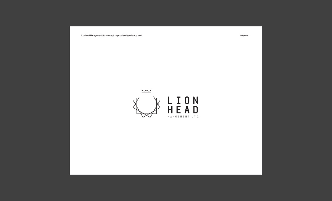 Design presentation deck for Lionhead branding and logo design: Logo Black Page