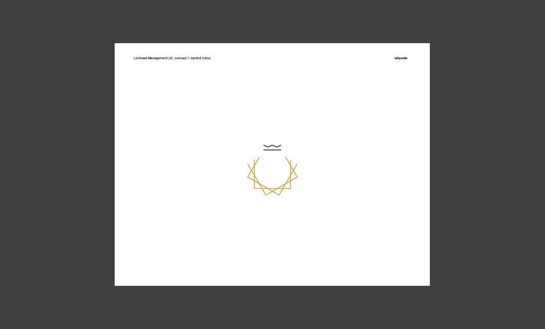 Design presentation deck for Lionhead branding and logo design: Symbol Colour Page