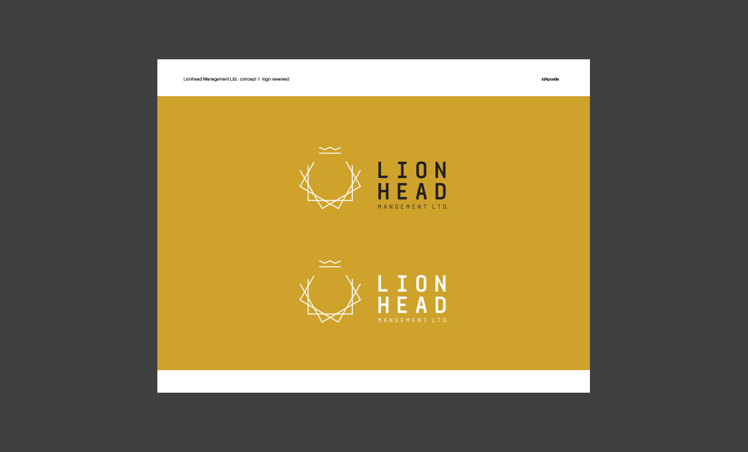 Design presentation deck for Lionhead branding and logo design: Logo Reversed Page